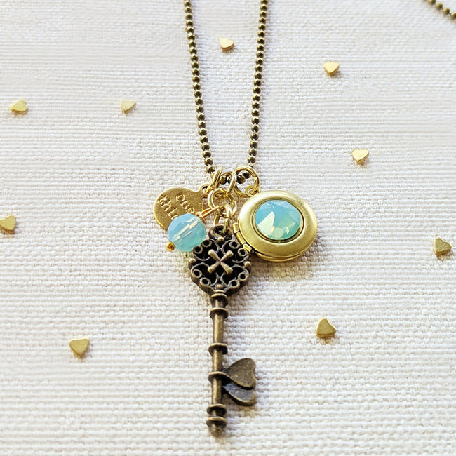"ADJUSTABLE ""ONE LOVE"" VINTAGE KEY & BALL CHAIN LOCKET NECKLACE (LONG) - One Thing Lockets 