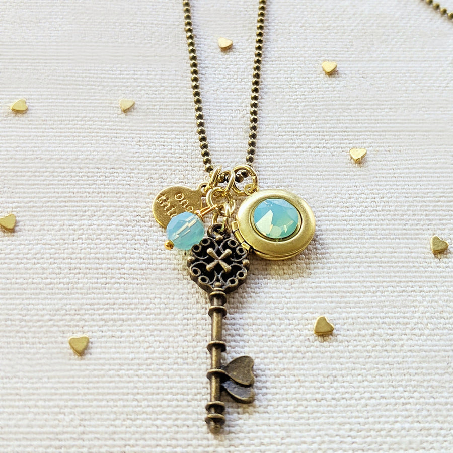 "ADJUSTABLE ""ONE LOVE"" VINTAGE KEY & BALL CHAIN LOCKET NECKLACE (LONG) - ALL PROFITS DONATED TO ""MAMAS FOR MAMAS"" - One Thing Lockets 