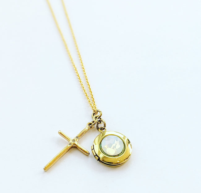 OPAL CROSS LOCKET NECKLACE - One Thing Lockets | Empowering People With Their Own Message