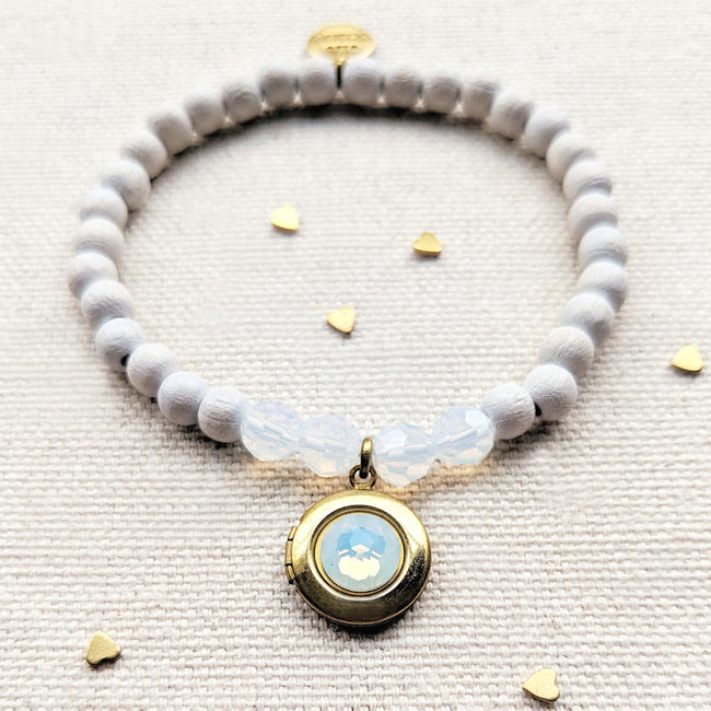 NEW! - OPAL SWAROVSKI & WHITE WOOD LOCKET BRACELET - One Thing Lockets | Empowering People With Their Own Message