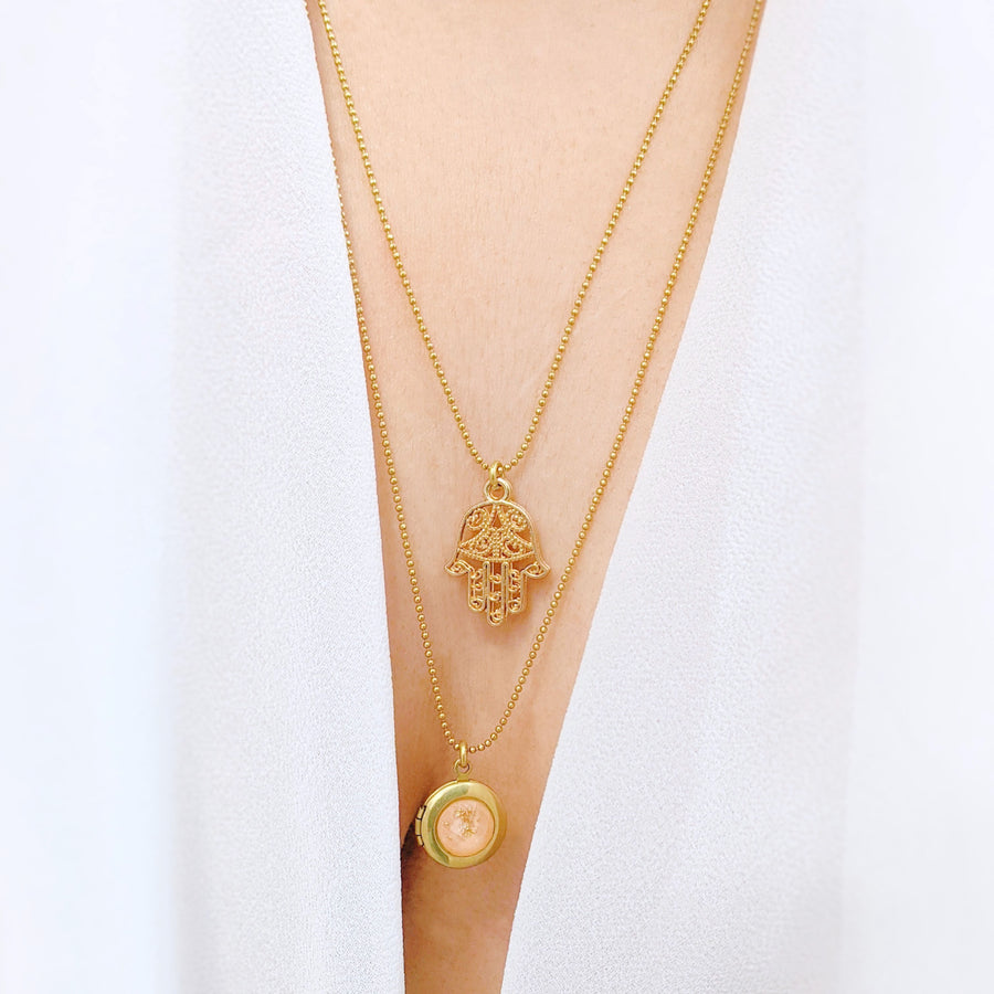 "WEAR IT 3 WAYS! - ADJUSTABLE ""PADPARADSCHA"" HAMSA LOCKET WRAP NECKLACE - One Thing Lockets"