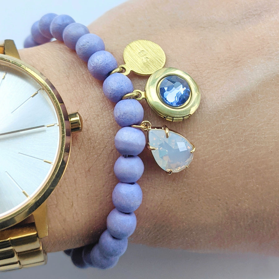 "PERSONALIZABLE ""OPAL & HYACINTH"" WOOD BEAD LOCKET BRACELET - HIGH QUALITY - One Thing Lockets"