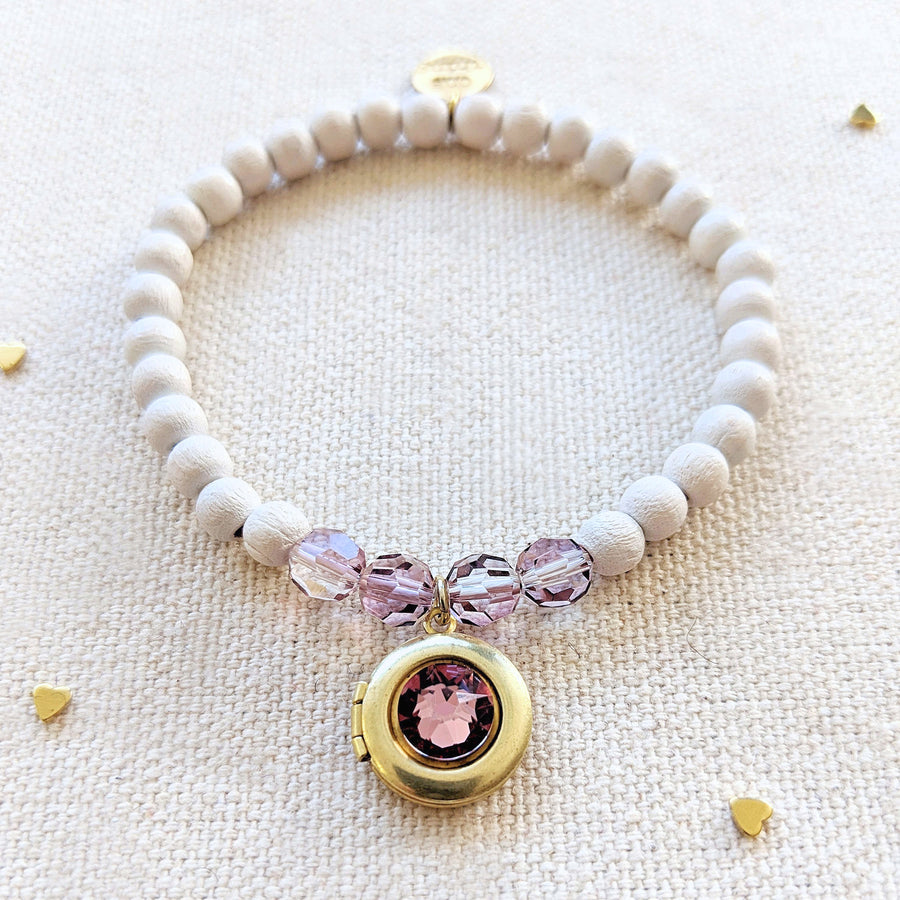PINK SAPPHIRE SWAROVSKI & WHITE WOOD LOCKET BRACELET - One Thing Lockets
