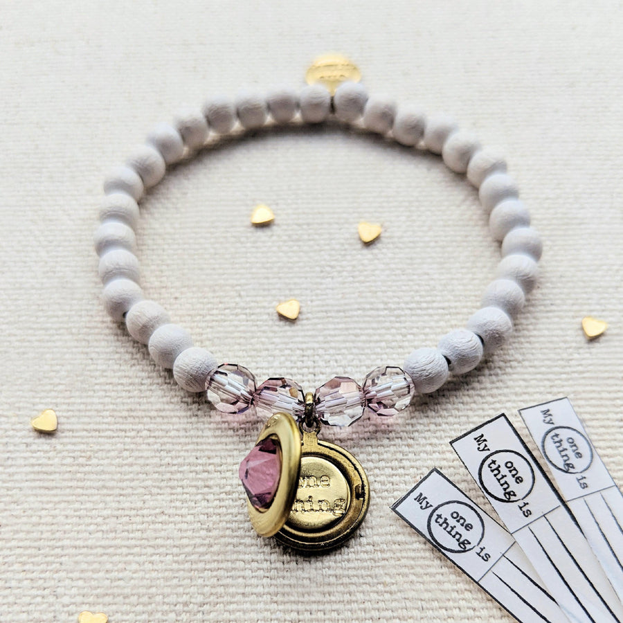 NEW! - PINK SAPPHIRE SWAROVSKI & WHITE WOOD LOCKET BRACELET - One Thing Lockets | Empowering People With Their Own Message