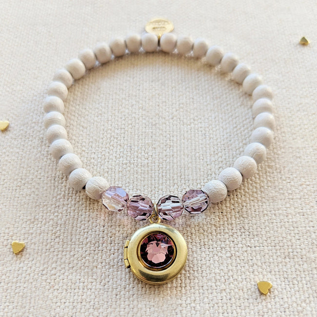 KIDS! - PINK SAPPHIRE SWAROVSKI & WHITE WOOD LOCKET BRACELET - One Thing Lockets | Empowering People With Their Own Message