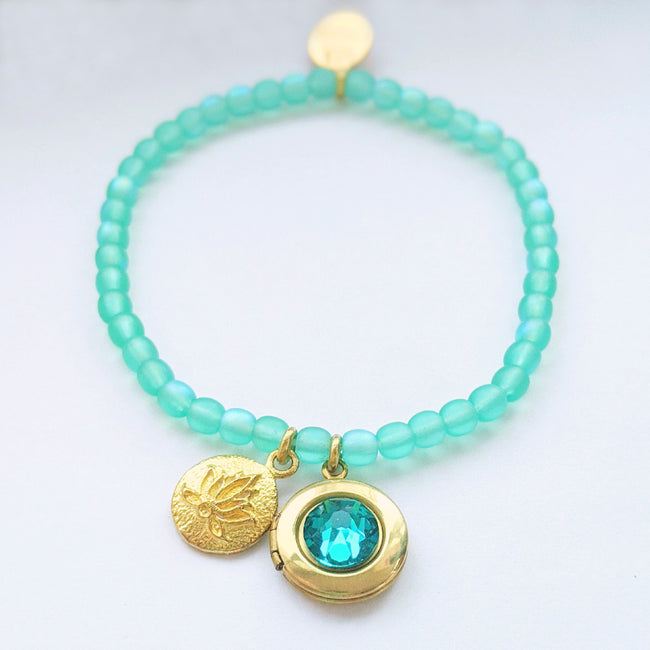 "KIDS! - ""PURE ZEN"" STRETCHY LOTUS LOCKET BRACELET - One Thing Lockets 