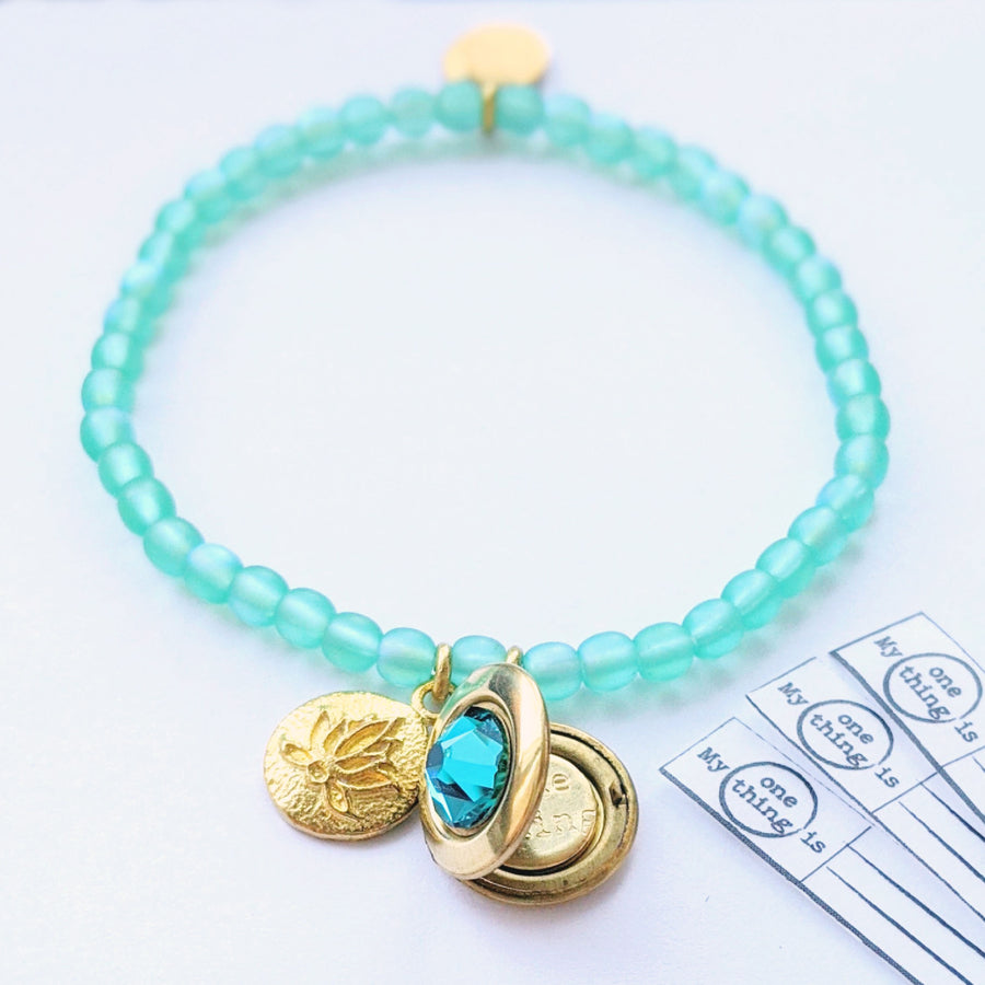 "KIDS! - ""PURE ZEN"" STRETCHY LOTUS LOCKET BRACELET - One Thing Lockets"