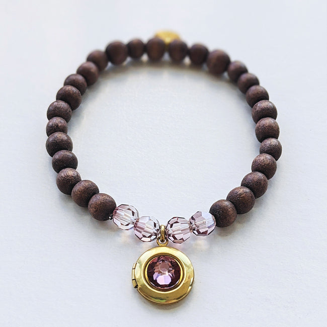 """RAYS OF LAGOS"" WOOD BEAD LOCKET BRACELET - One Thing Lockets 