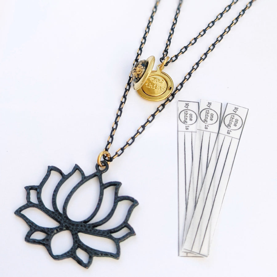 "WEAR IT 3 WAYS! - ADJUSTABLE ""RESILIENCE"" LOTUS FLOWER LOCKET WRAP NECKLACE - One Thing Lockets"