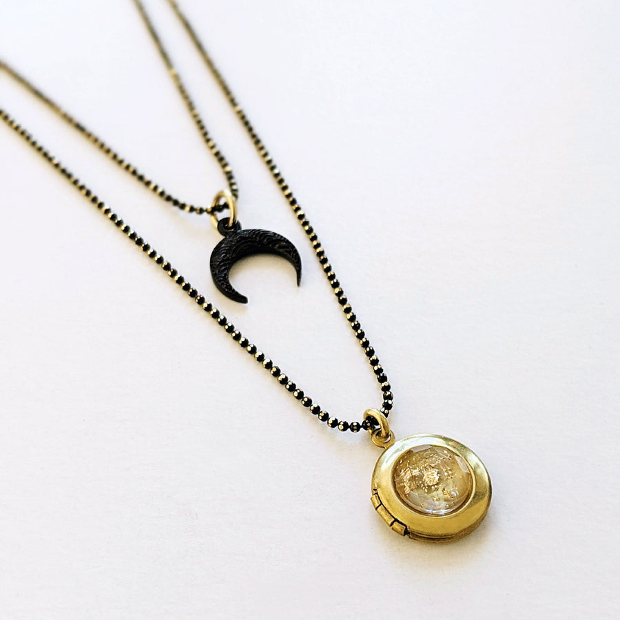 WEAR IT 3 WAYS! - ADJUSTABLE RISING MOON BLACK BRASS LOCKET WRAP NECKLACE - One Thing Lockets | Empowering People With Their Own Message