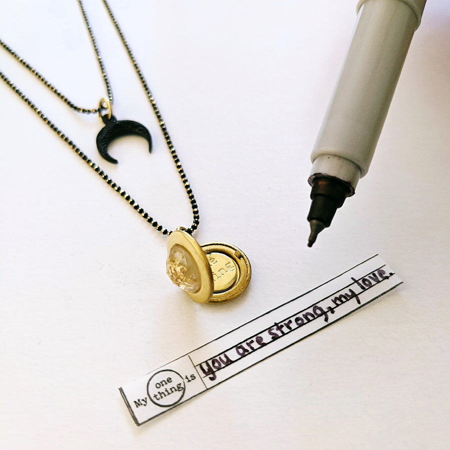 "WEAR IT 3 WAYS! - ADJUSTABLE ""RISING MOON"" BLACK BRASS LOCKET WRAP NECKLACE - One Thing Lockets 