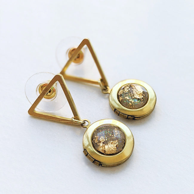 """SAVANNAH"" GEOMETRIC LOCKET EARRINGS (Hypo-allergenic & light-weight!) - One Thing Lockets"