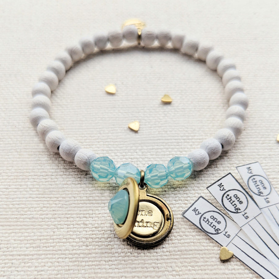 SEA GLASS SWAROVSKI & WHITE WOOD LOCKET BRACELET - One Thing Lockets | Empowering People With Their Own Message
