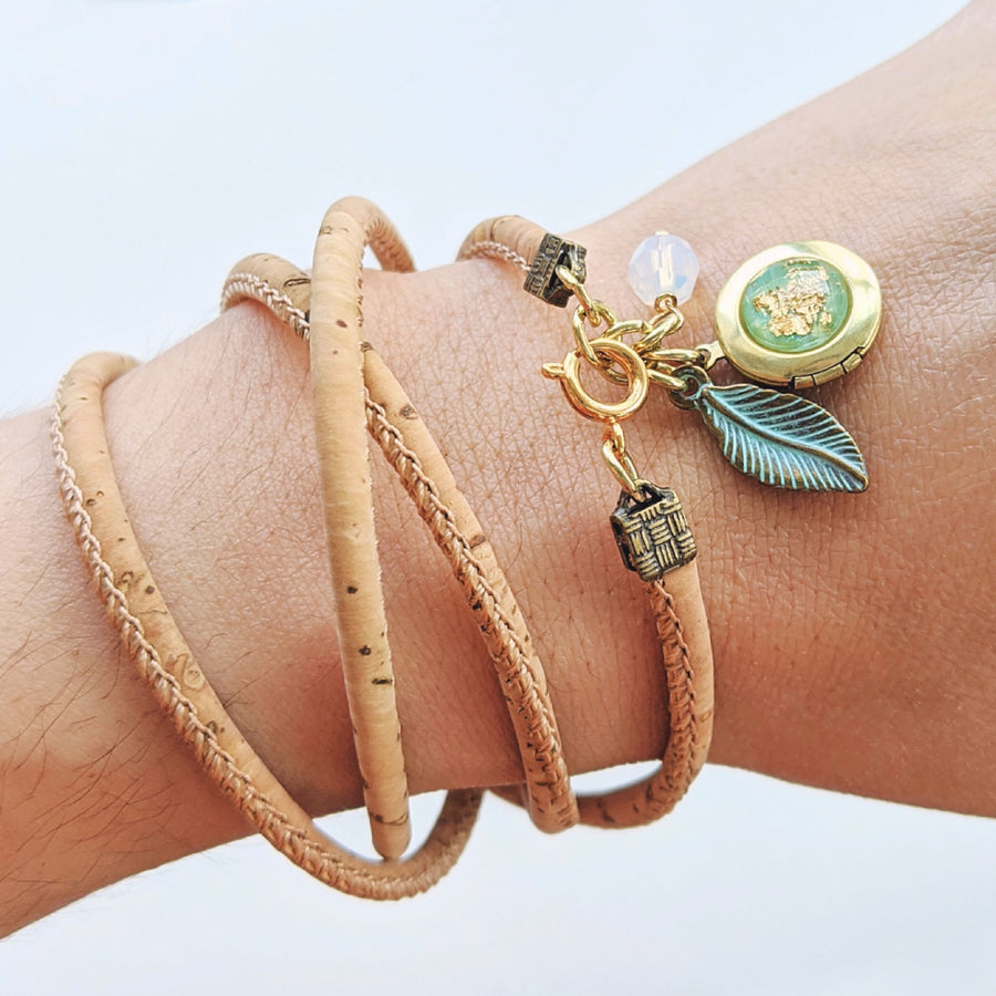 """SORRENTO"" LOCKET & CORK WRAP BRACELET/NECKLACE (VEGAN) - One Thing Lockets"