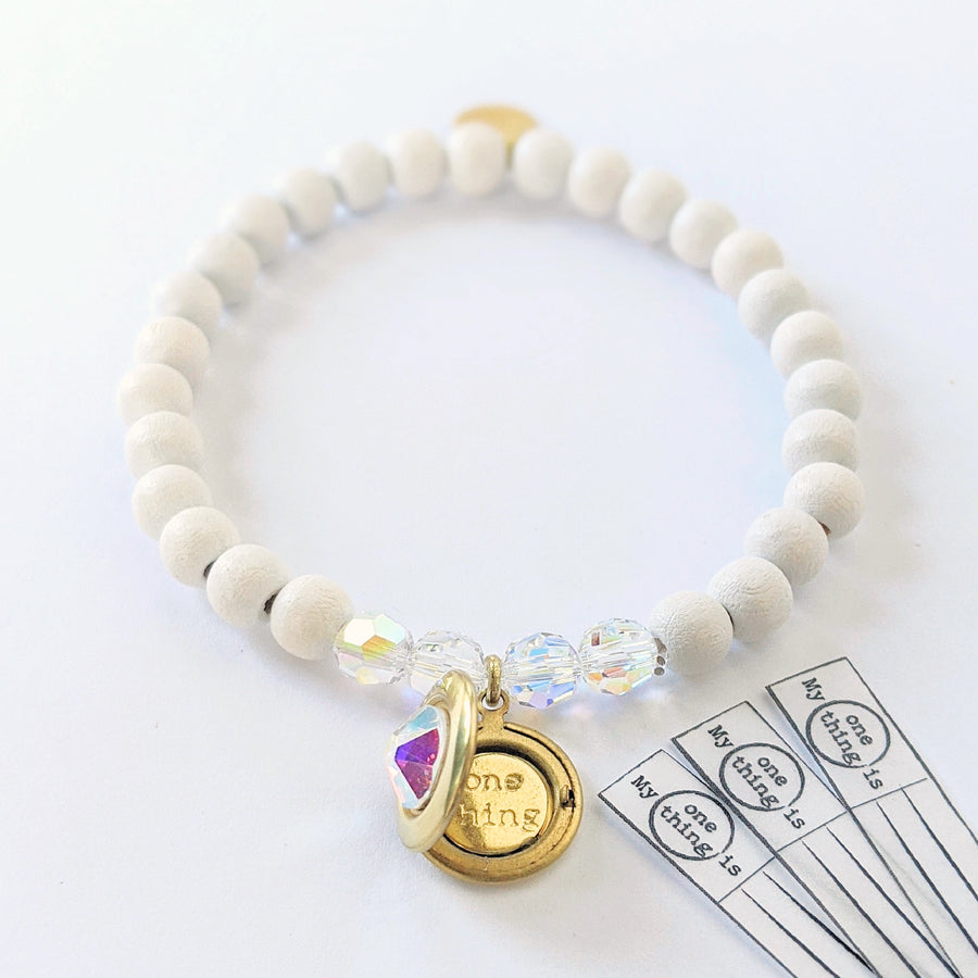 """SPARKLE"" SWAROVSKI & WHITE WOOD LOCKET BRACELET - One Thing Lockets 