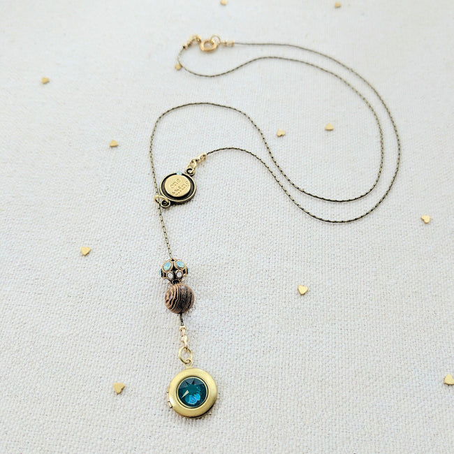 """ST. LUCIA"" LOCKET LARIAT NECKLACE - EXCLUSIVE SWAROVSKI FILIGREE BEAD - One Thing Lockets 