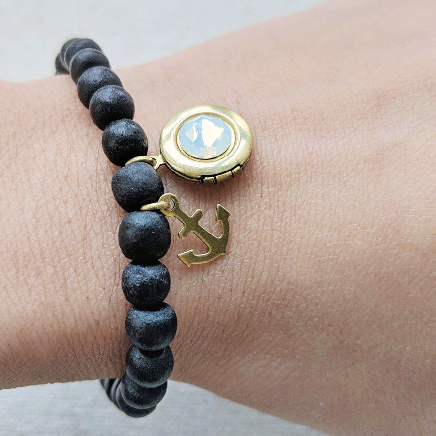 "KIDS! - ""STAY ANCHORED"" WOOD BEAD LOCKET BRACELET - One Thing Lockets"