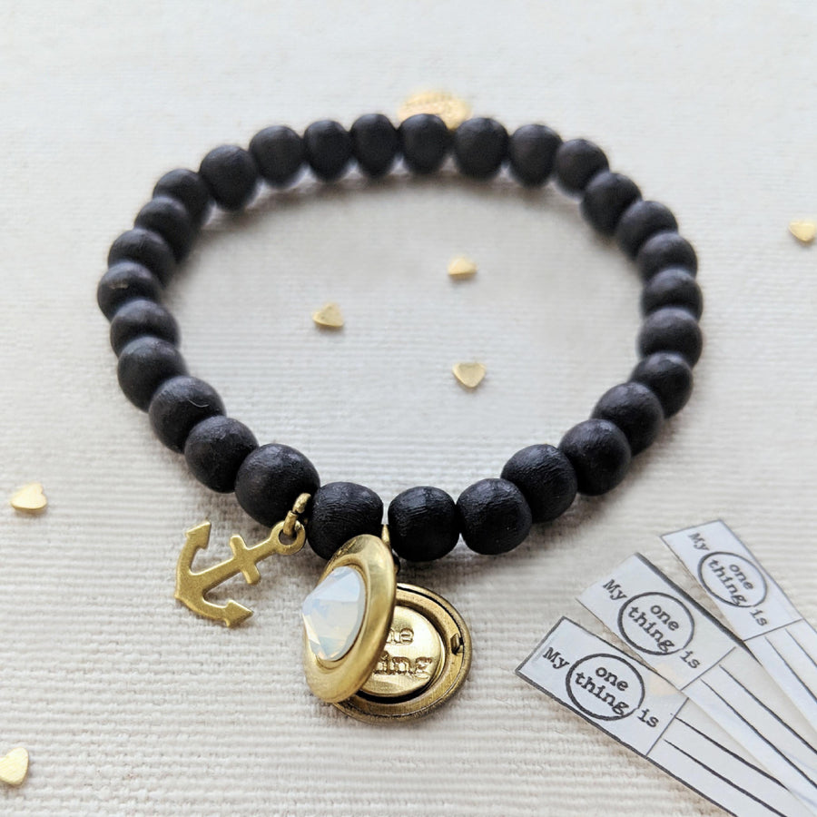 "KIDS! - ""STAY ANCHORED"" WOOD BEAD LOCKET BRACELET - One Thing Lockets 