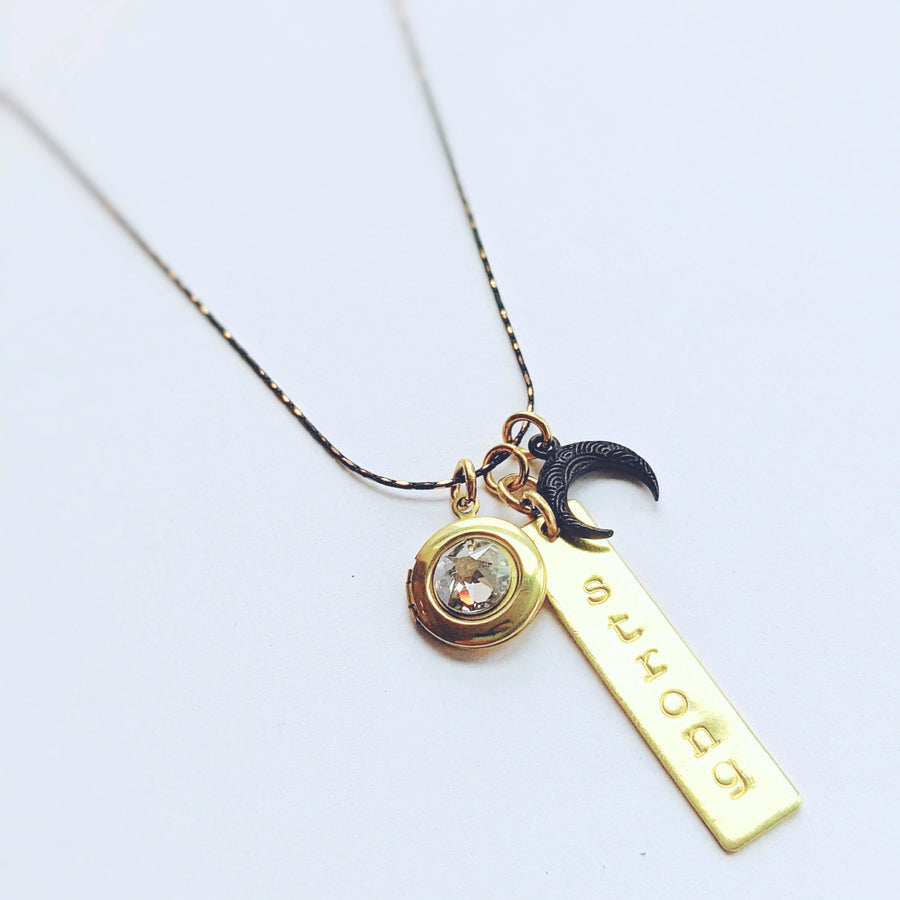CHOOSE YOUR OWN WORD! - CUSTOM MOON HAND-STAMPED LOCKET NECKLACE - One Thing Lockets