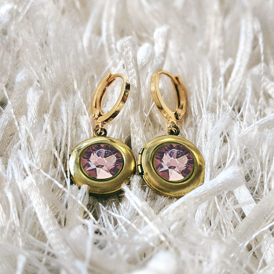 """SUNSET SPARKLE"" SWAROVSKI LOCKET EARRINGS (Hypo-allergenic & ultra-light weight!) - One Thing Lockets 
