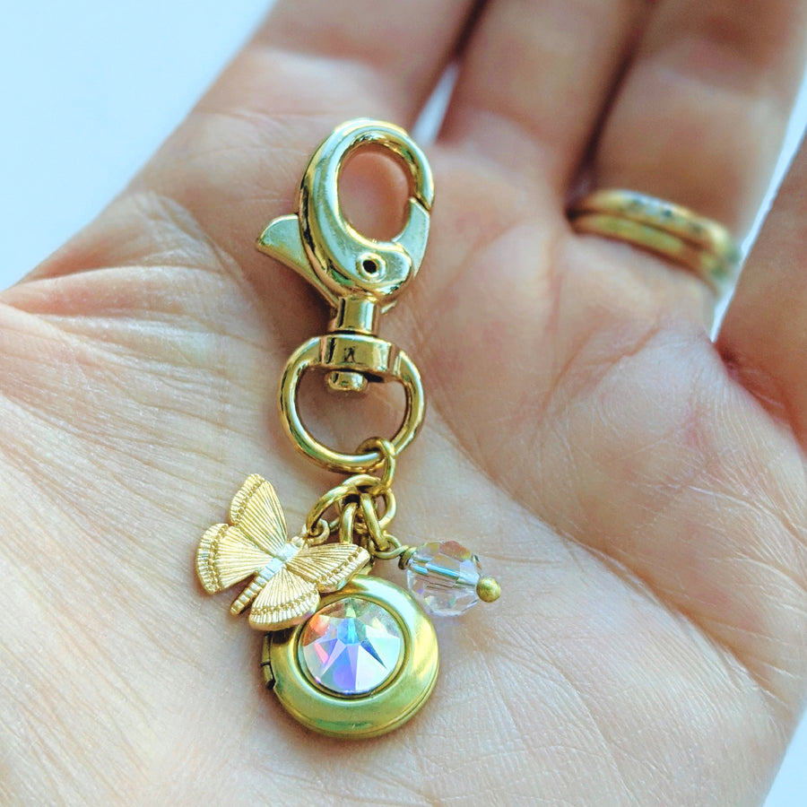 """BUTTERFLY BLOSSOM"" LOCKET KEYCHAIN/PURSE CLIP - One Thing Lockets 