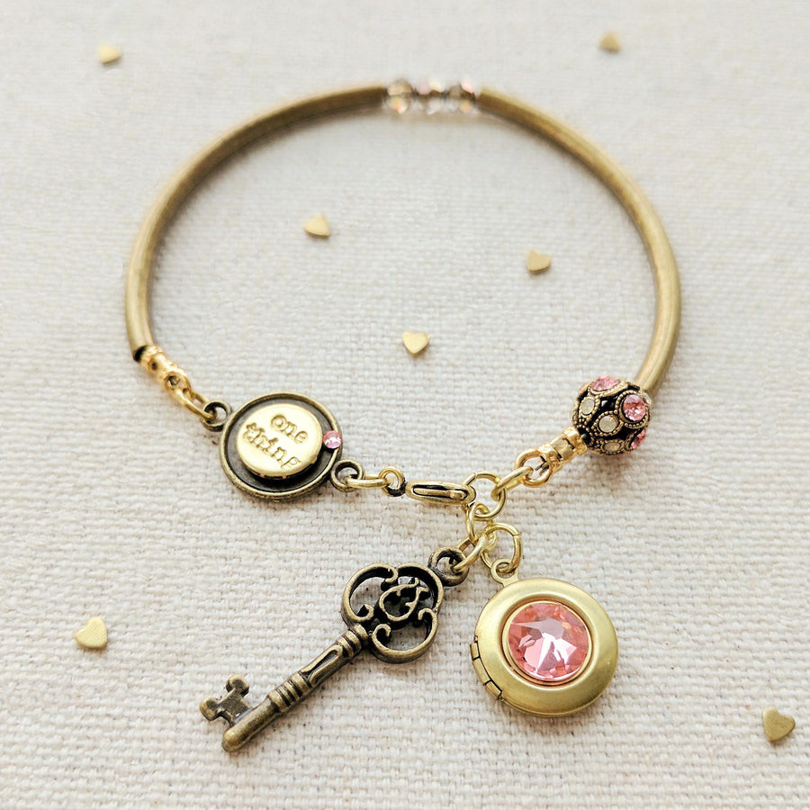 EMILY LOCKET & KEY CHARM BANGLE - One Thing Lockets | Empowering People With Their Own Message