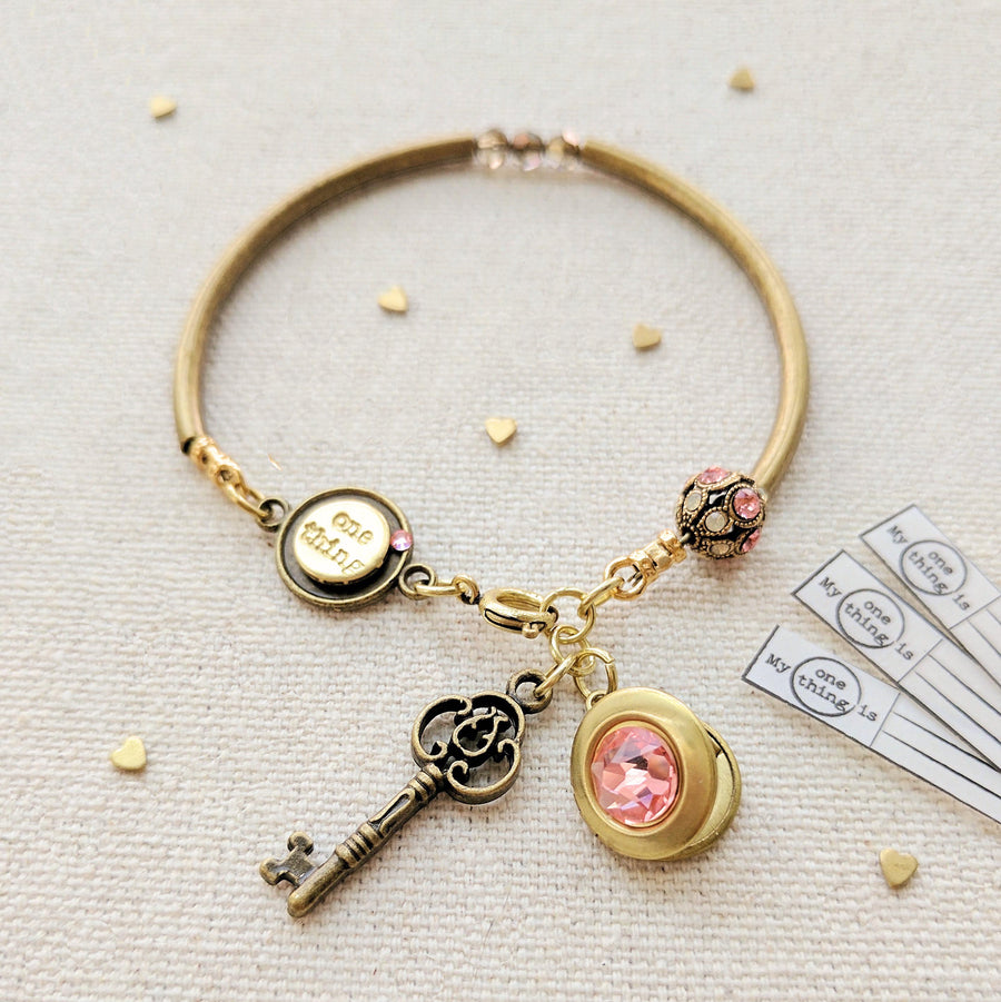 """EMILY"" LOCKET & KEY CHARM BANGLE - One Thing Lockets 