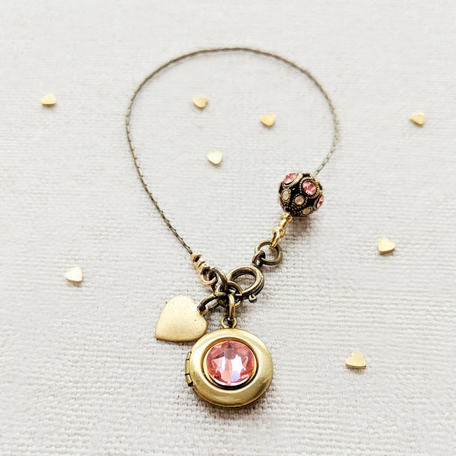 "KIDS! - PERSONALIZABLE ""SWEETIE PIE"" LOCKET BRACELET - EXCLUSIVE SWAROVSKI FILIGREE BEAD - One Thing Lockets 