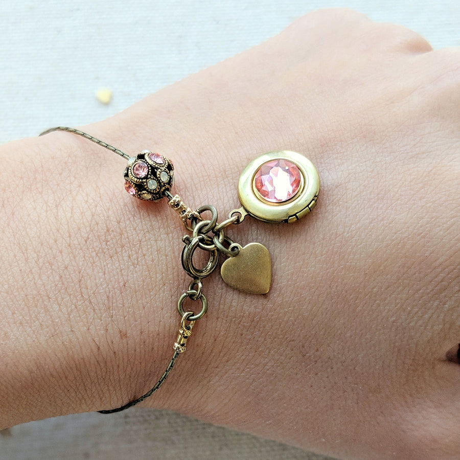 "PERSONALIZABLE ""SWEETIE PIE"" LOCKET BRACELET - EXCLUSIVE SWAROVSKI FILIGREE BEAD - One Thing Lockets 