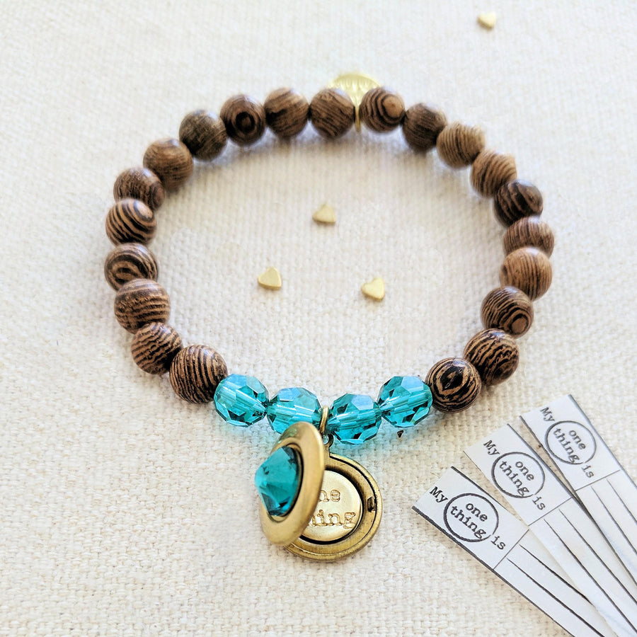 """BERMUDA"" WOOD BEAD LOCKET BRACELET - One Thing Lockets 