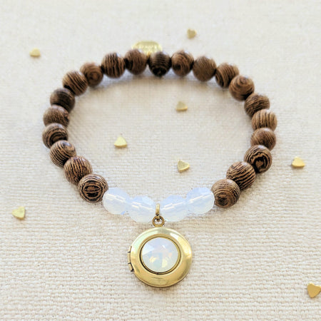 OPAL COCONUT WOOD BEAD LOCKET BRACELET - One Thing Lockets | Empowering People With Their Own Message