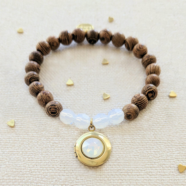 """OPAL COCONUT"" WOOD BEAD LOCKET BRACELET - One Thing Lockets 