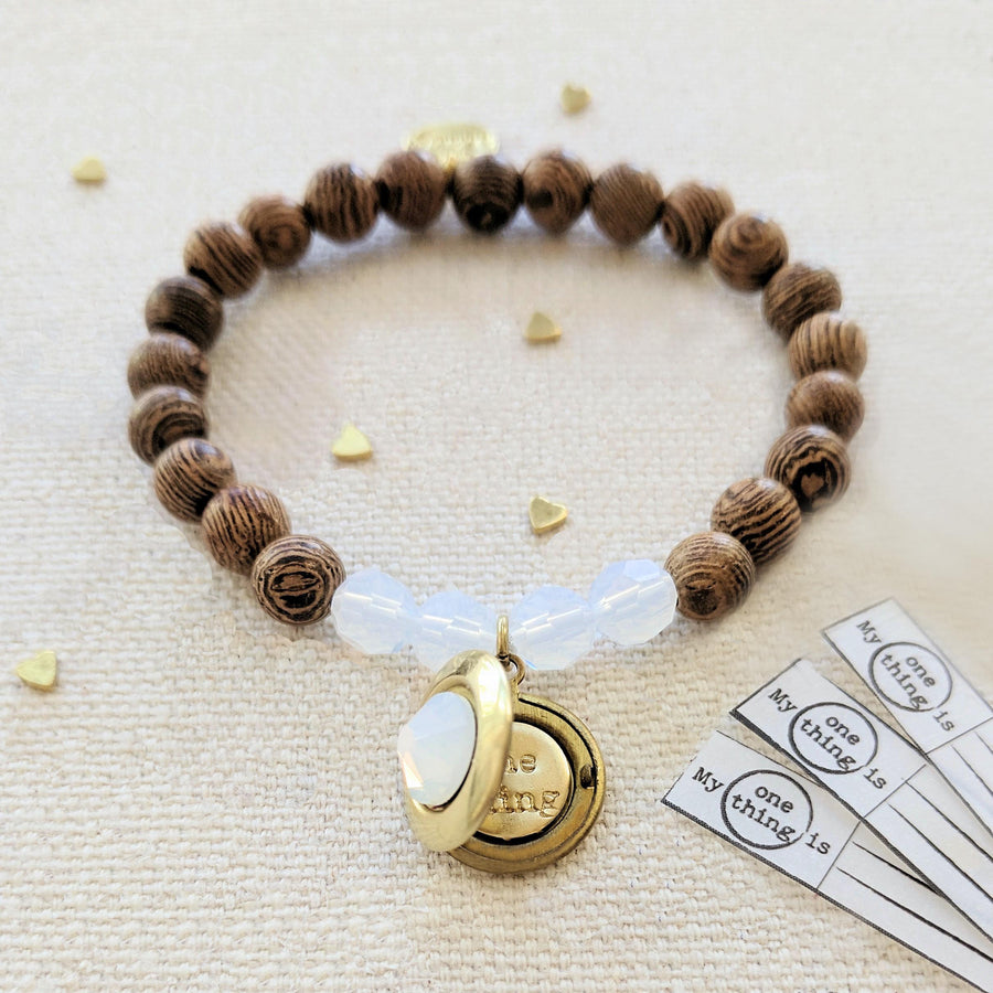 "KIDS! - ""OPAL COCONUT"" WOOD BEAD LOCKET BRACELET - One Thing Lockets 