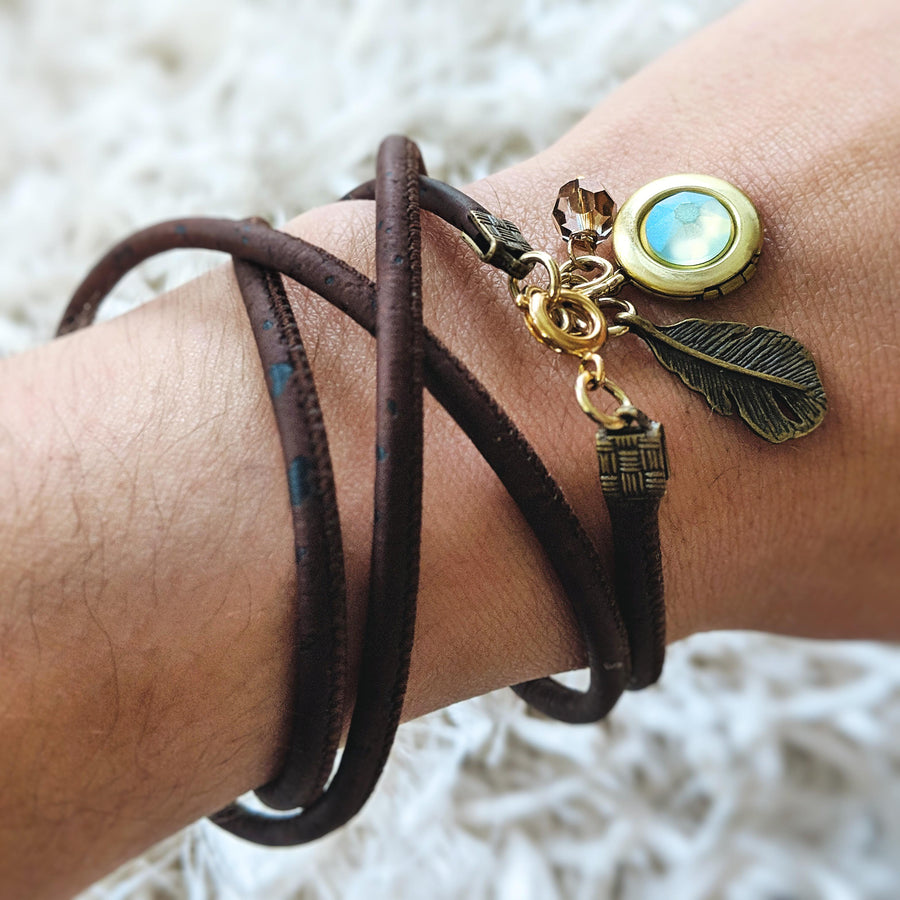 "KIDS! - ""MERMAID SCALE"" LOCKET & CORK WRAP BRACELET/NECKLACE (VEGAN) - One Thing Lockets 