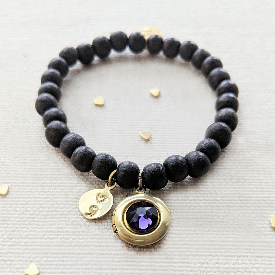 "KIDS! - ""YOU WILL GO ON"" (SEMI-COLON) WOOD BEAD LOCKET BRACELET - One Thing Lockets 