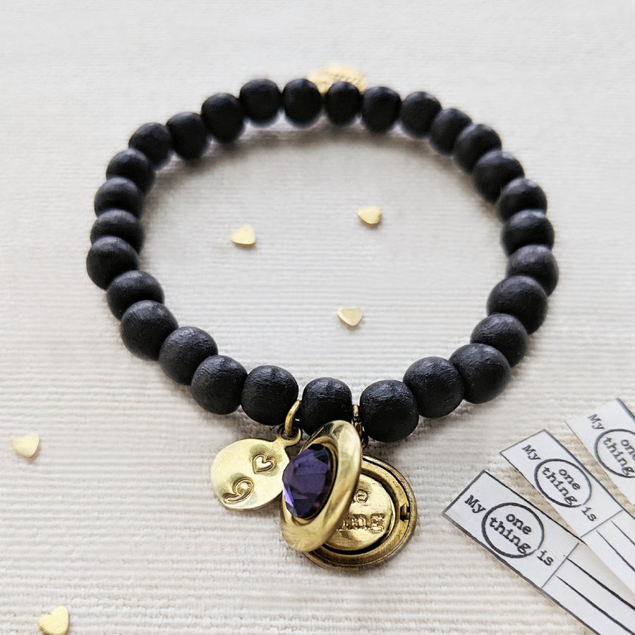 """YOU WILL GO ON"" (SEMI-COLON) WOOD BEAD LOCKET BRACELET - One Thing Lockets"