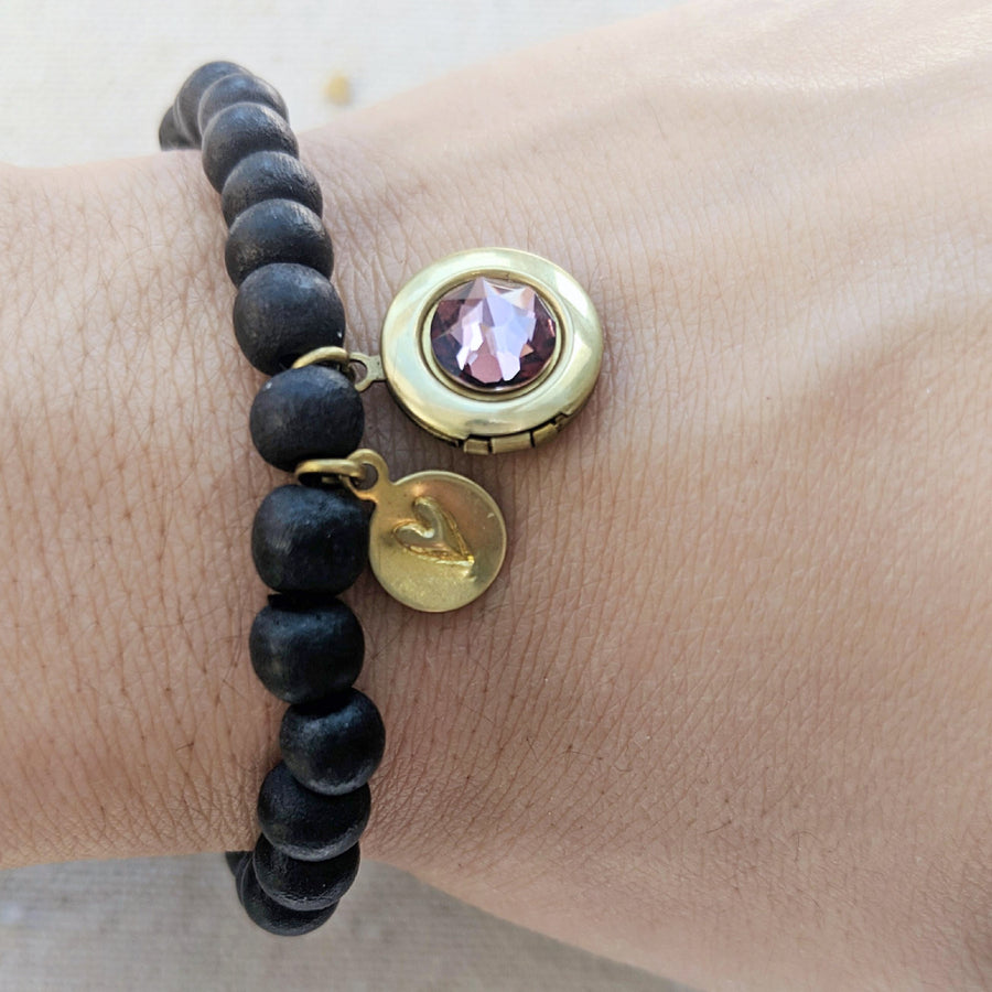 """YOU ARE LOVED"" WOOD BEAD LOCKET BRACELET - One Thing Lockets"