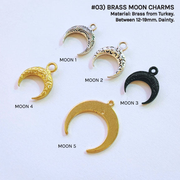 BRASS MOON CHARMS FOR CUSTOM BRACELET/NECKLACE - One Thing Lockets