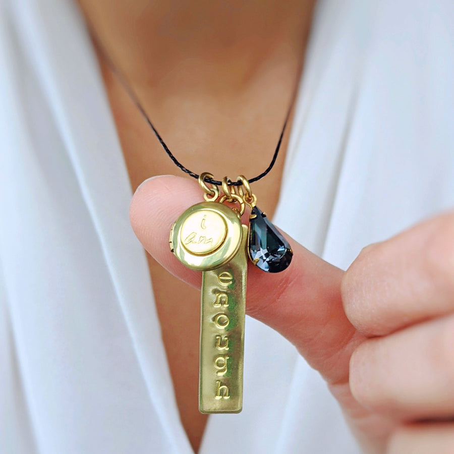 "CHOOSE YOUR OWN WORD! - CUSTOM VINTAGE & BLACK BRASS HAND-STAMPED ""I AM"" LOCKET NECKLACE - One Thing Lockets"