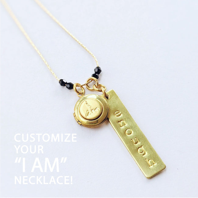 "CHOOSE YOUR OWN WORD! - CUSTOM HAND-STAMPED ""I AM"" LOCKET NECKLACE - One Thing Lockets"