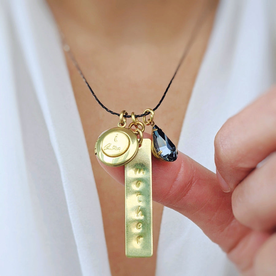 "CHOOSE YOUR OWN WORD! - CUSTOM VINTAGE & BLACK BRASS HAND-STAMPED ""I AM"" LOCKET NECKLACE - One Thing Lockets 
