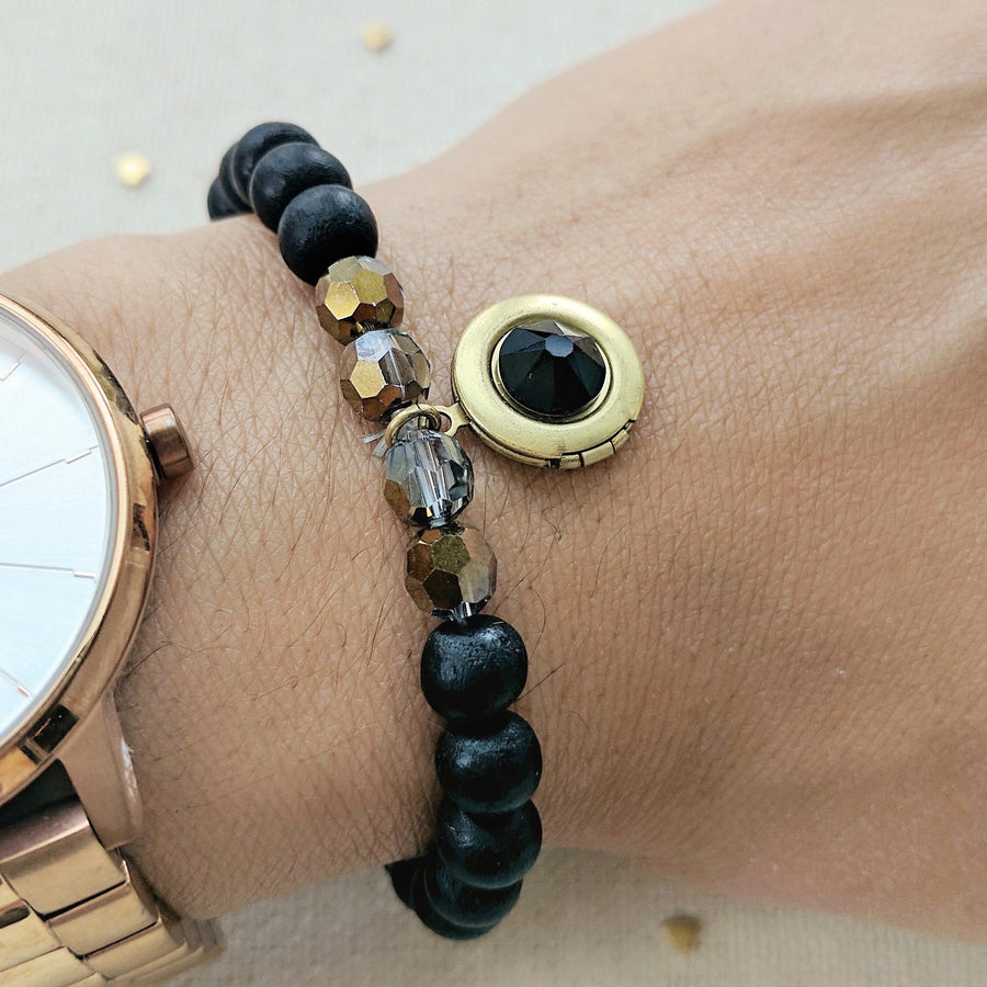 """LAVA ROCK"" WOOD BEAD LOCKET BRACELET - One Thing Lockets"