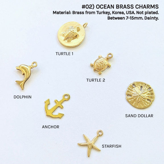 DAINTY OCEAN BRASS CHARMS FOR CUSTOM BRACELET/NECKLACE - One Thing Lockets | Empowering People With Their Own Message