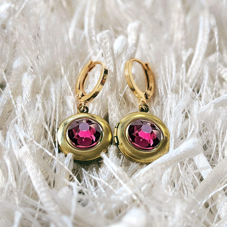 NEW! - RUBY RED SWAROVSKI LOCKET EARRINGS (Hypo-allergenic & ultra-light weight!)