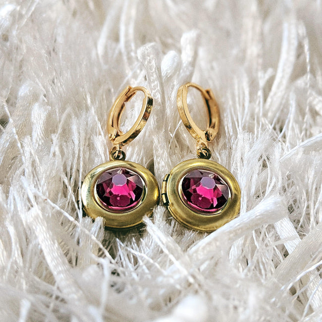 """RUBY RED"" SWAROVSKI LOCKET EARRINGS (Hypo-allergenic & ultra-light weight!) - One Thing Lockets"