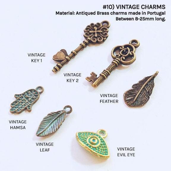 VINTAGE BRASS CHARMS FOR CUSTOM NECKLACE/BRACELET - One Thing Lockets | Empowering People With Their Own Message