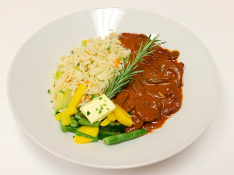 Beef Stroganoff, Rice Pilaf & Chef's Vegetables