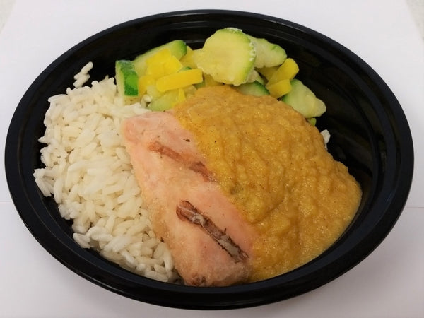 Salmon- Wild Grilled Salmon with Peach Ginger Sauce, Rice & Chef's Vegetables