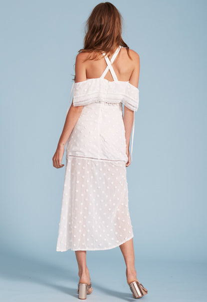 Sway with me ruffle dress white