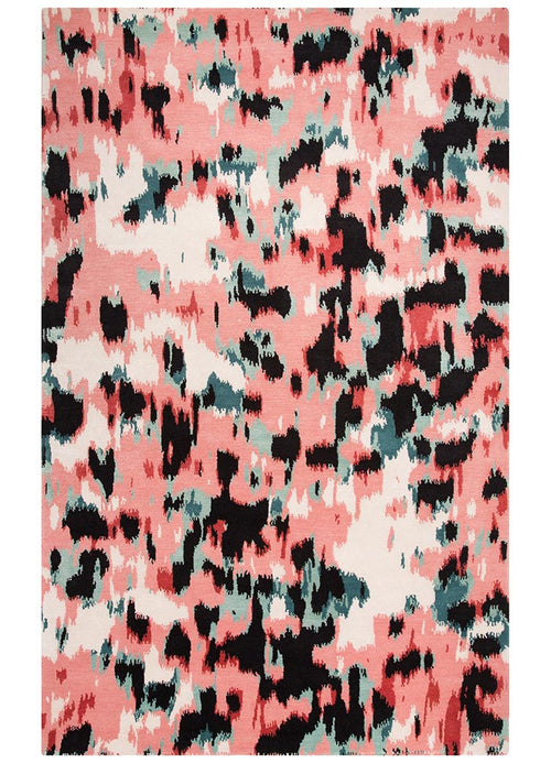Watercolour Leopard Pink/Black Rug